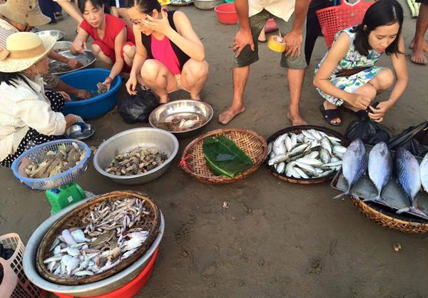 Chợ cá sáng sớm trên Biển Hải Hòa
